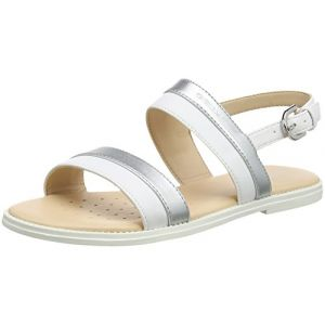 Geox Karly F, Sandales Bout Ouvert Fille, Blanc (White/Silver), 33 EU