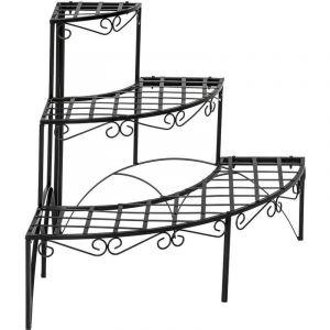 Escalier étagère porte plantes d'angle en fer 3 niveaux métal noir
