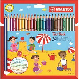 Stabilo 203/24-01 - Etui de 24 crayons de couleur triangulaires Trio long, couleurs assorties (24) + taille-crayon
