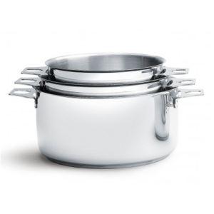 De Buyer 3491.03 - 3 casseroles Twisty en inox (16 / 18 / 20 cm)