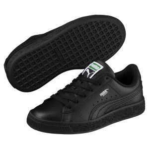 Puma Basket Classic LFS PS, Sneakers Basses Mixte Enfant, Noir Black Black, 35 EU
