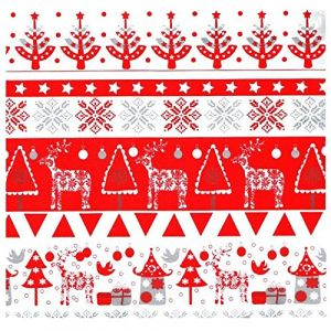 Beaumont Papier cadeau rouge et blanc largeur 50 cm