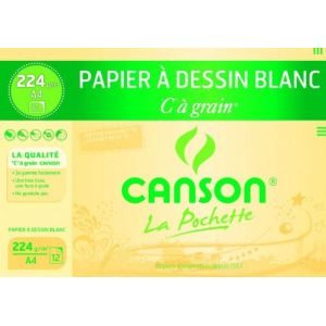 Canson 27114 - 12 Feuilles papier dessin C 224 g (A4)
