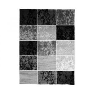 SUBWAY CUBE Tapis de salon en polypropylène 240 x 340 cm Noir