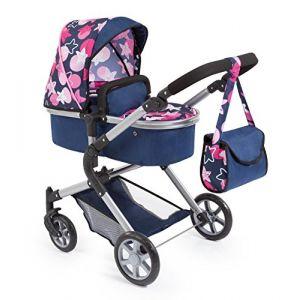 Bayer Design BAYER Landau pour poupée Neo Star bleu et étoiles roses avec sac à bandoulière et panier d'achat intégré - convertible poussette