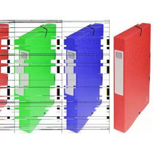 Exacompta 50405E - Boîte à élastique EXABOX, carte lustrée, dos de 40, coloris rouge