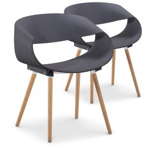 Declikdeco Lot de 2 chaises design grises LUVIA