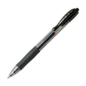 Pilot 12 stylos roller G2 pointe moyenne rétractable noire (0,7 mm)