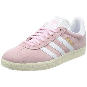 Adidas Gazelle, Baskets Basses Femme, Rose (Wonder Pink/Footwear White/Gold Metallic), 40 2/3 EU