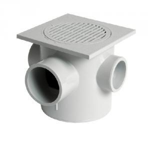Nicoll SEMX20 - Siphonnette à entrées multiples Diam 50-50-50-63 platine orientable 200x200