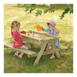 Soulet Table avec bac à sable en bois (90 x 90 cm)