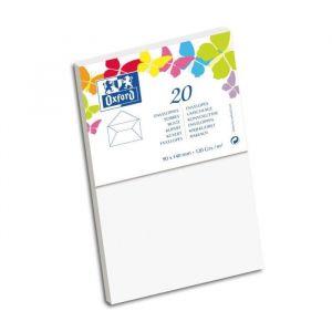 Oxford 20 Enveloppes gommée - 14 cm x 9 cm x 1,5 cm - 120g - Blanc