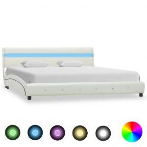 VidaXL Cadre de lit avec LED Blanc Similicuir 160 x 200 cm
