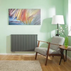 Hudson Reed Radiateur Design Horizontal Raccordement Central Anthracite Vitality Caldae 63,5cm x 100cm x 7,8cm 1773 Watts