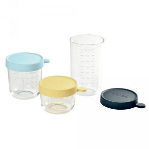 Beaba Coffret 3 portions verre (150 ml yellow,250 ml light blue,400 ml dark blue)
