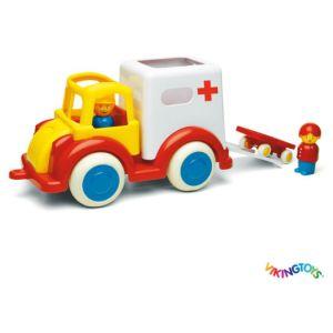 Vikingtoys Jumbo ambulance avec 2 personnages / 1 civiere