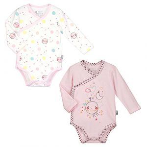 Petit Béguin Lot de 2 bodies manches longues bébé fille Jolie Planète -  Couleurs - Rose f696f40702e