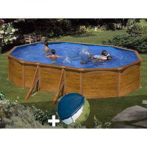 Gre Kit piscine acier aspect bois Sicilia ovale 5,27 x 3,27 x 1,22 m + Bâche hiver