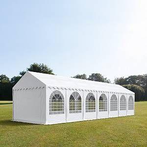 Intent24 Tente de réception 3x14 m H. 2,6m blanc PVC 550g/m² pavillon 100% imperméable.FR