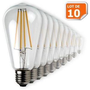 Lampesecoenergie Lot de 10 Ampoules Led Filament ST64 Style Edison Teardrop 7 watt (eq.52 watt) Culot E27