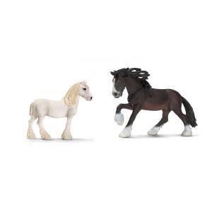 Schleich Figurines de chevaux shire (jument, étalon)