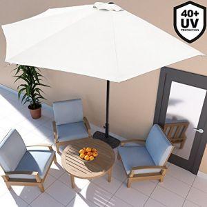 Deuba Demi-Parasol avec manivelle Ø 3m - Terrasse Balcon - Crème