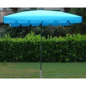 Pegane Parasol rectangulaire centré coloris Turquoise - Dim : H 250 x D 240 x 160/4 baleines