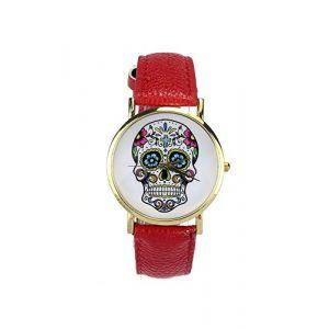Ernest Montre Calavera Motif crâne Mexicain Multicolore - Bracelet Similicuir Rouge.