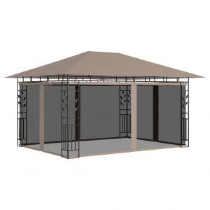 VidaXL Belvédère avec moustiquaire 4x3x2,73 m Taupe 180 g/m²