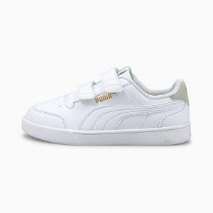 Puma Shuffle V PS, Basket Mixte Enfant, White White-Gray Violet Team Gold, 29/30 EU