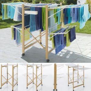 ProBache Séchoir Deluxe design imitation bois étendoir extensible pliable - IDMARKET