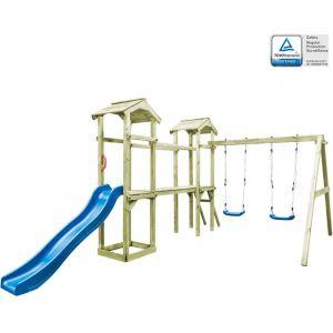 VidaXL Aire de Jeux Échelle Toboggan Balançoire Bois FSC Jardin Patio Enfant