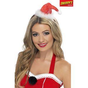 Unknown Smiffys 28420 Déguisement Femme Mini Bonnet de Père Noël, Rouge, Taille Unique