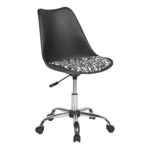 Beliani Chaise à roulettes noire à motifs DAKOTA II