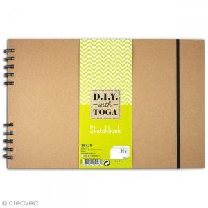 Toga Sketchbook kraft à décorer 30 x 20 cm - 80 pages de dessin blanches