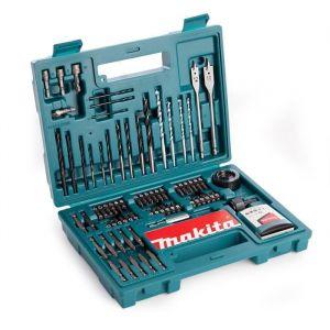 Makita Coffret de 100 accessoires pour perçage vissage B-53811 - 73 embouts, 19 forets , 2 scies cloches en acier carbone, 3 clés à douille