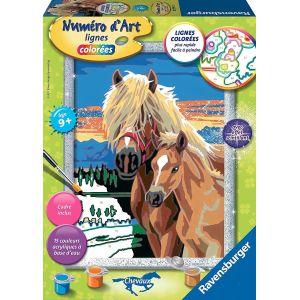 Ravensburger Numéro d'Art lignes colorées Les poneys