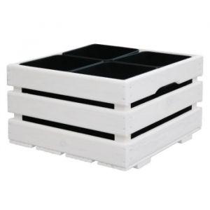 Jardinière pour 4 pots - 43 x 43 x 26 cm - Blanc - Jardinière - En bois Pin massif - Peinture lasure blanche - Dimensions : 43 x 23 x 26 cm