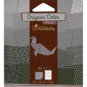 Avenue mandarine Papier origami noir et blanc 12x12cm 20 feuilles