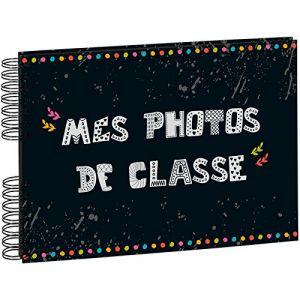 Exacompta 16010E - Album photos de Classe 32x22 cm, 50p. noires/100 photos, reliure à spirales, noir