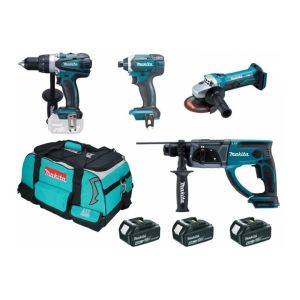 Makita DLX4054MX1 - Ensemble de 4 machines 18V li-ion 4Ah DDF458 + DTD152 + DHR202 + DGA452