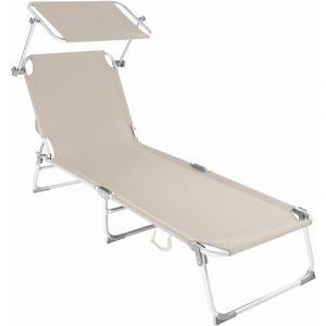 TecTake Chaise longue, Transat, Bain de soleil, Pare Soleil, Pliable Aluminium 190 cm Beige