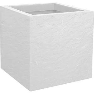 Eda Plastiques Jardiniere carré Volcania Up 21L - Blanc cérusé - 29.5x29.5x29.5cm
