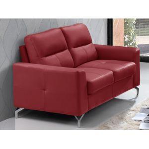 Canapé 2 places EDORI en cuir de buffle - Rouge