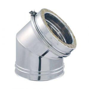 Isotip Joncoux Coude pour conduit double paroi Diam.200 mm 45° Ep.30 mm