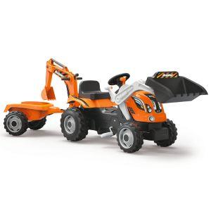Smoby Builder Max : tracteur à pédales + remorque