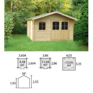 Decor et jardin 76535SZ00 - Abri de jardin en bois massif 34 mm 11,04 m2 (porte double)