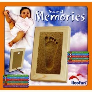 Licofun Coffret empreinte pied avec cadre en bois et sable Sand Memories