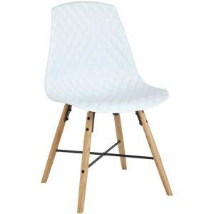 Zago Chaises assise capitonnée et pieds en chêne - Lot de 2 - Couleur blanc