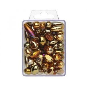 Panduro Perle Lustre - Doré - Formes variées - Diamètre : 6-20 mm - Trou : 1,5 mm.